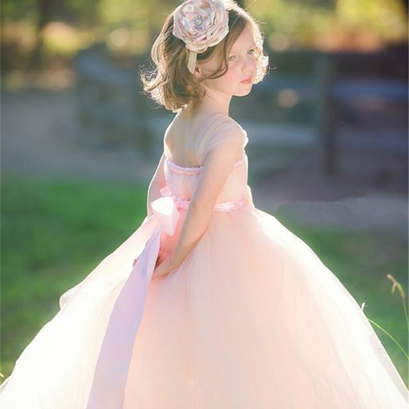 2Y-14Y Pink Flower Girl Dresses For Wedding Kids Girl Tutu Dress Baby Birthday Photo Party Festival Bridal Dress Tulle Ball Gown pink white girls tutu dress princess tulle wedding bridesmaid flower girl dress for kids birthday photo party festival dresses