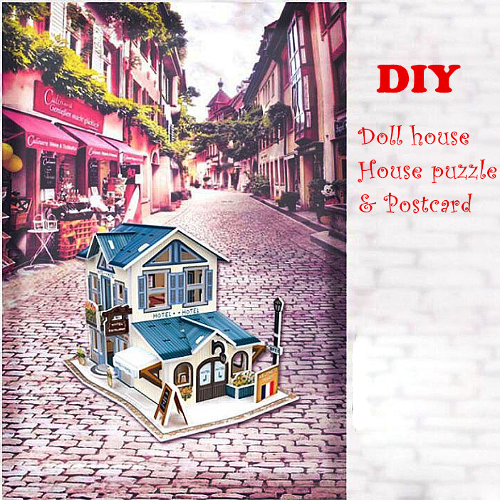 Wooden Jigsaw DIY Doll house 3d puzzle building with Postcard home decor Educational Montessori puzzle for