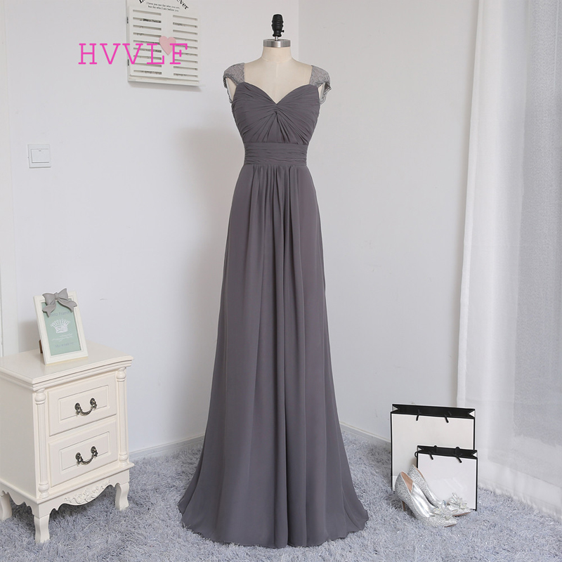 A-line Cap Sleeves Gray Chiffon Lace Open Back Bridesmaid Dress