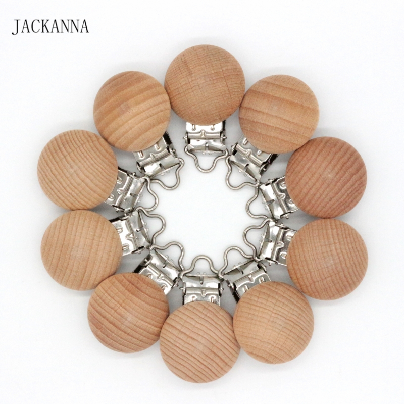 10PCS Natural Wood Pacifier Clips No Paint Baby Dummy Clips Infant Soother Chain Accessories BPA FREE Baby Pacifier Holder