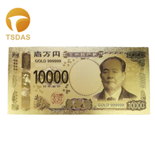 10pcs/Lots Collectible Gold Foil Banknotes Japanese 10000 YEN 24K 999 Plated Banknote Souvenir