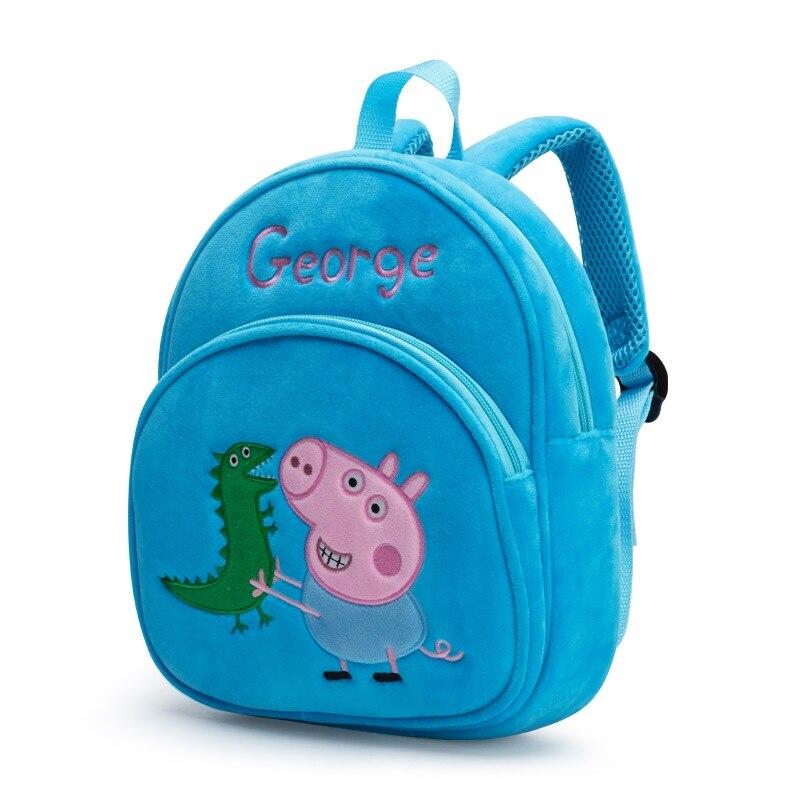 New Arrival Genuine PEPPA PIG peppa George plush backpack high quality Soft Stuffed cartoon bag Doll For Children kids toy  2