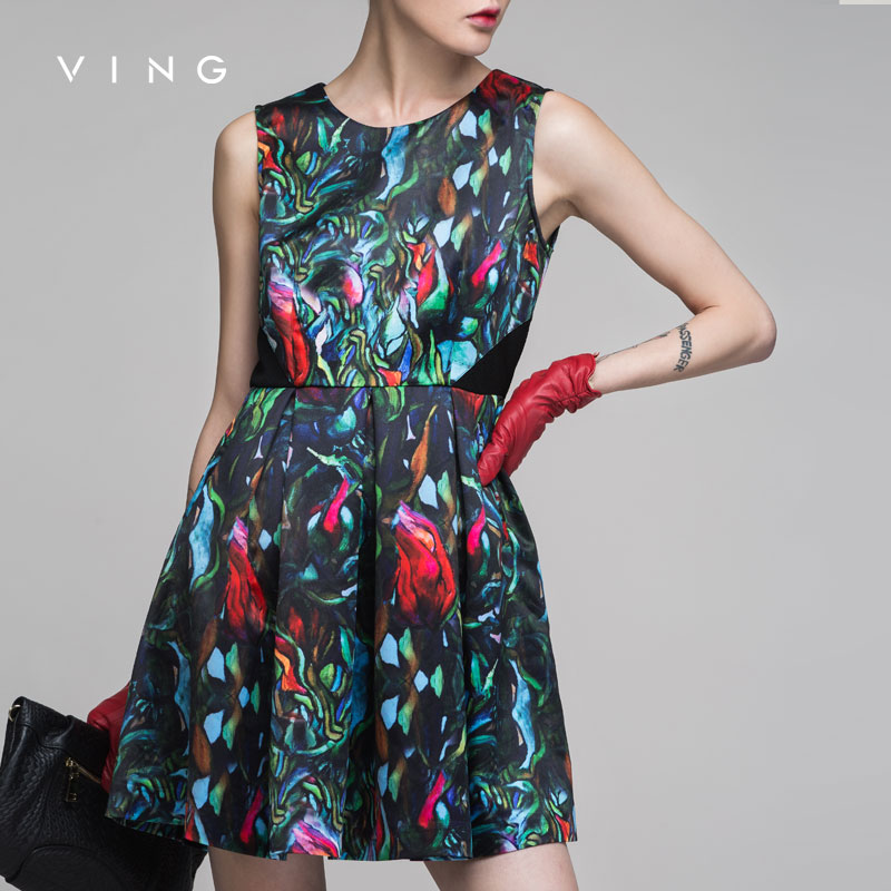 Buy Cheap VING New Women Dress Vintage Print O-Neck Sleeveless One-Piece Dress Lady Fashion Party Dating Dress