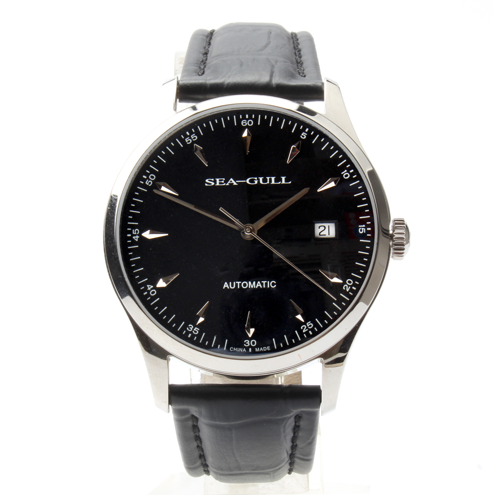 Seagull Genuine Leather Band PVD With Stainless Steel Black Dial 3 Hands Automatic Men's Watch Sea-gull D819.447