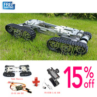 WZY569 Intelligence RC Tank Car Truck Robot chassis 393mm*206mm*84mm CNC Alloy body+4 Plastic tracks + 4 Motors + 1S 3S 10A ESC