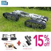 Wzy569 inteligência rc tanque carro caminhão robô chassi 393mm * 206mm * 84mm corpo liga cnc + 4 faixas de plástico 4 motores|rc tank|rc tank car|tank rc -