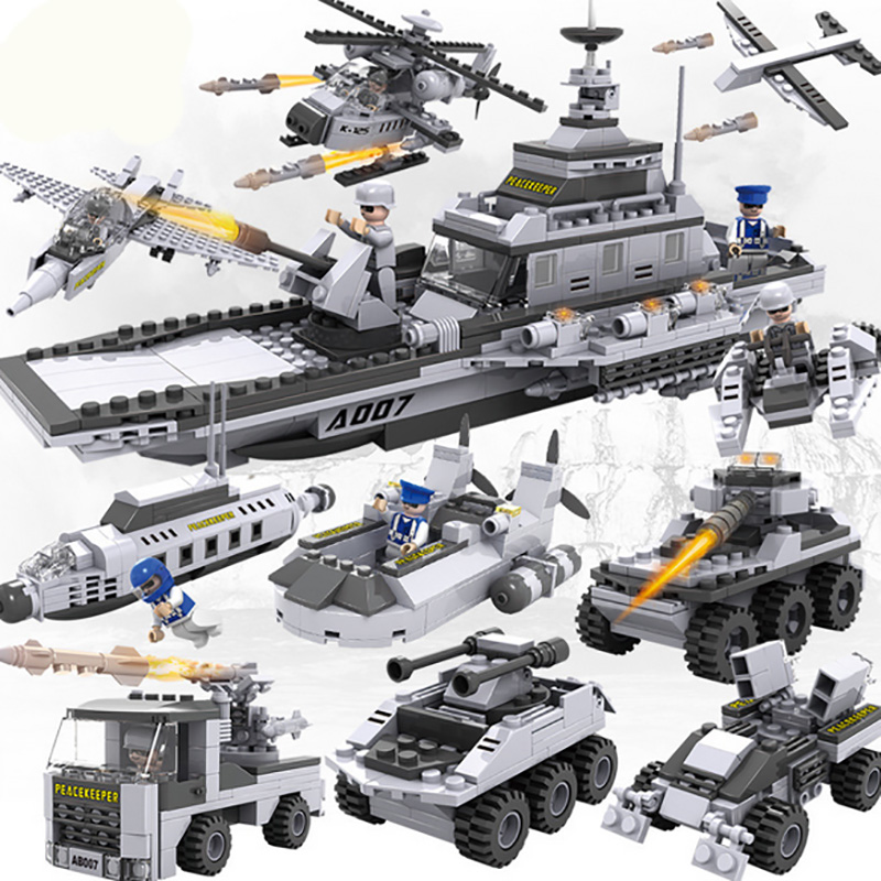 8 IN 1 Military Aircraft Carrier Building Blocks Toys for Children Kids Educational Blocks Toys Best Christmas Gift for Boys enlighten 1406 8 in 1 combat zones military army cars aircraft carrier weapon building blocks toys for children