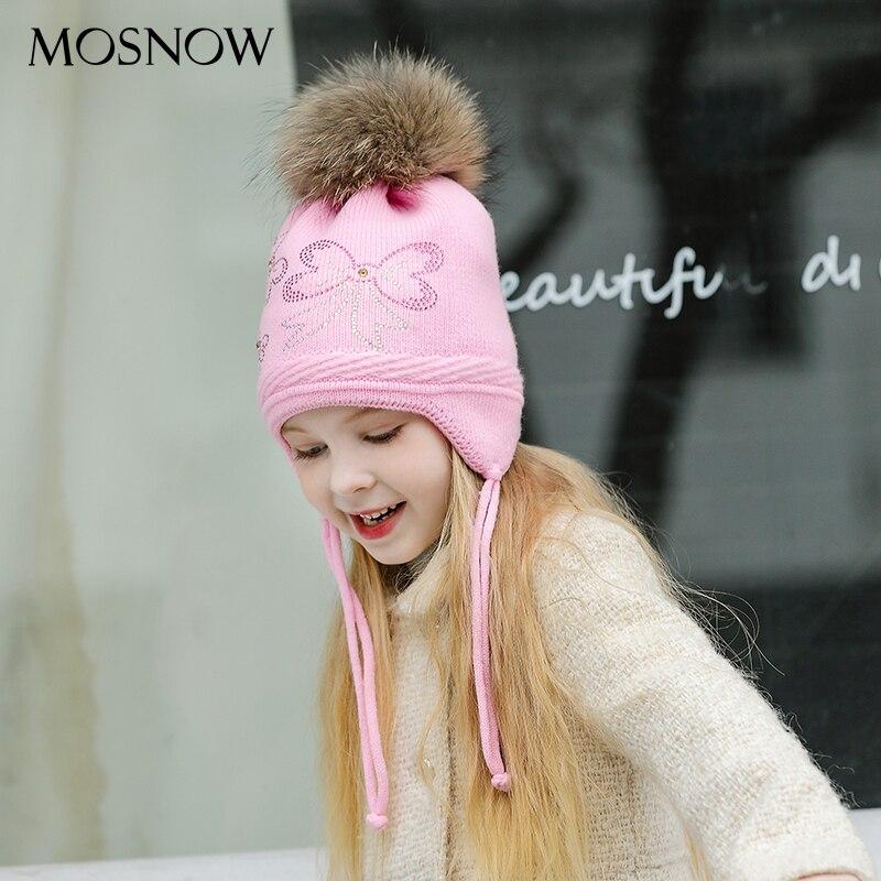 Hats Fur Pompom Caps Skullies-Bonnet Winter Beanies Girl Children for Boy Bowknot High-Quality