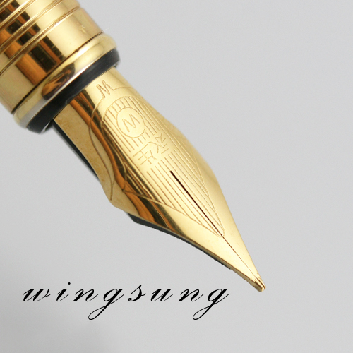 Exquisite Wingsung 819 Gold Carved Designs Fountain Pen 0.5mm 1990s Iraurita Writing Pens Stationery School Office Supplies