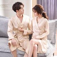 J&Q Bathrobe Bath 2019 Fashion Men and Women Dressing Gown Long Sleeves Solid Color Satin Silk Bride Kimono Couple Wedding Robes