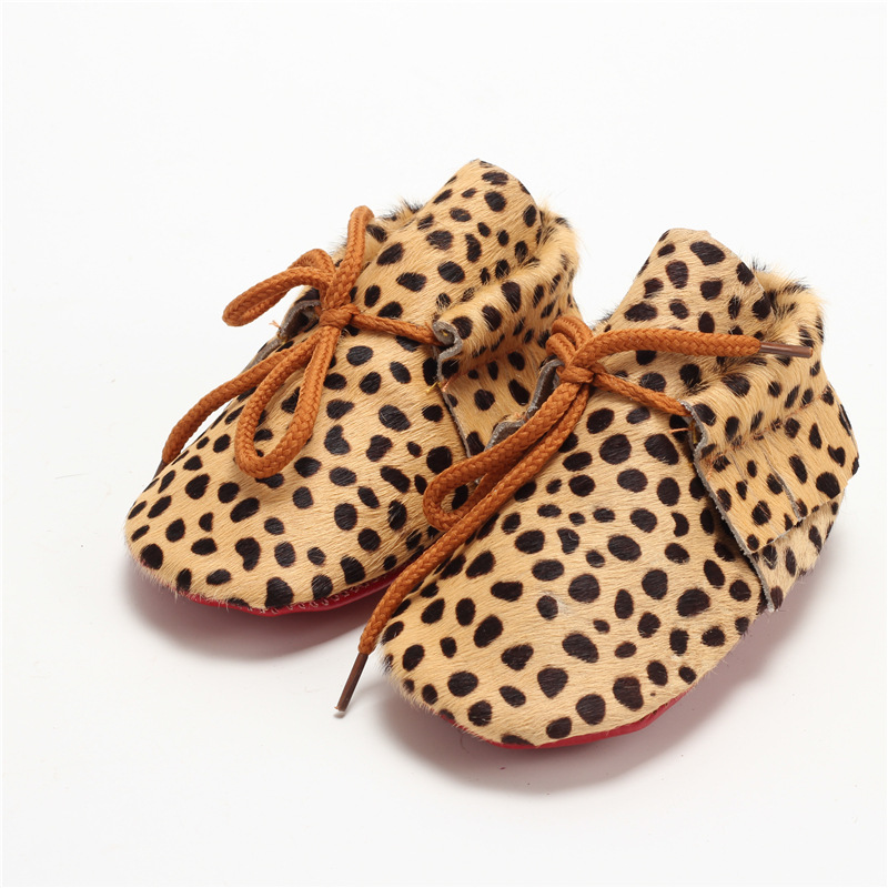 Hand-made Horse hair Leather Baby shoes lace-up Baby Moccasins Leopard Bebe Soft bottom newborn shoes First Walkers