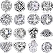 Горячая мода хрустальные цветы Корона сглаза сердца Микки DIY бусины подходят Pandora талисманы браслеты и браслеты для женщин ювелирные изделия подарок