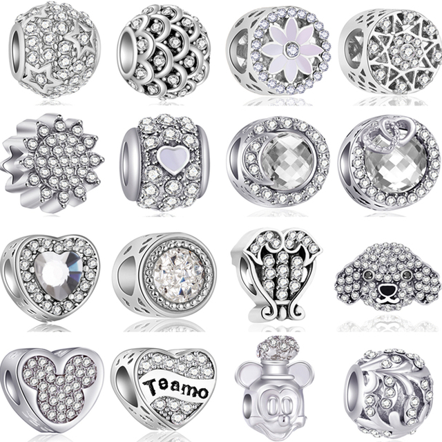 Hot Fashion Crystal Flowers Crown Evil Eye Hearts Mickey DIY Beads Fit Pandora Charms Bracelets & Bangles for Women Jewelry Gift