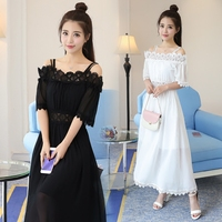 Make Spot Chiffon 2018 New Dress A Word Shoulder Cultivate Morality Show Thin Off The Shoulder