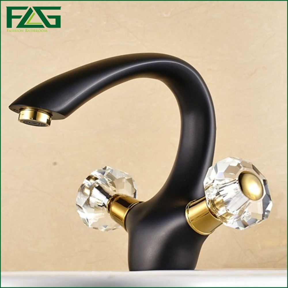ФОТО FLG Fashion Style Basin Faucet Double Handle Crystal Faucet Handles Black Color Cold&Hot Vintage Sink Wash Basin Mixer Tap M066