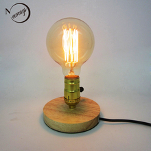 Loft vintage industrial naturaleza madera base lámpara de mesa E27 luz moderna lectura escritorio lámpara para estudio dormitorio sala de estar sala de trabajo