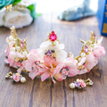 Gorgeous pink flower tiara ceramic pearl jewelry gold plated crystal crown party wedding accessories bride headpiece fascinator