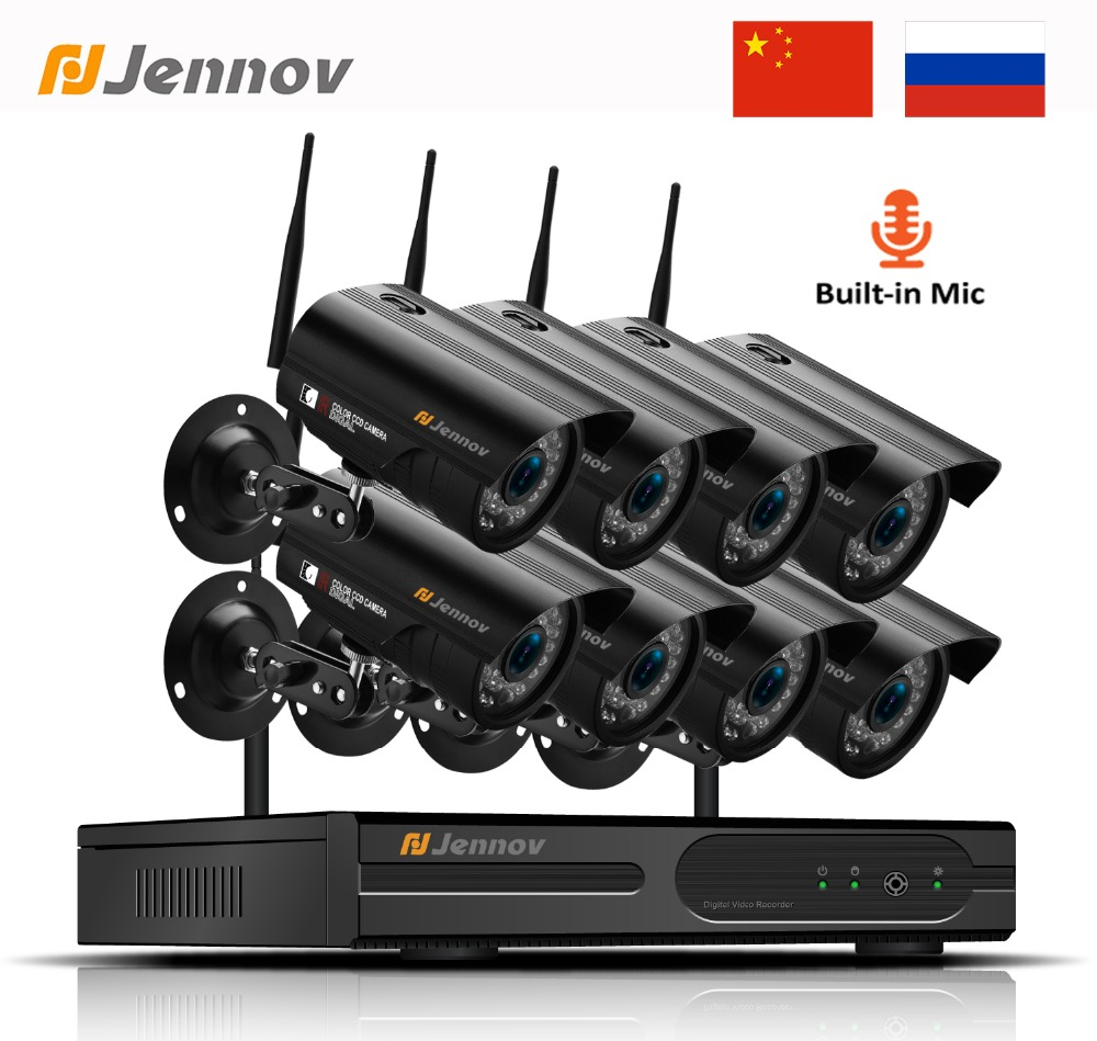Jennov 8CH 1080P Wireless Wifi Home Security Camera System Outdoor CCTV Set Video Surveillance Kit IP
