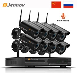Jennov 8CH 1080P Wireless Wifi Home Security Camera System Outdoor CCTV Set Video Surveillance Kit IP Camera Wi-fi 2MP Aduio Cam