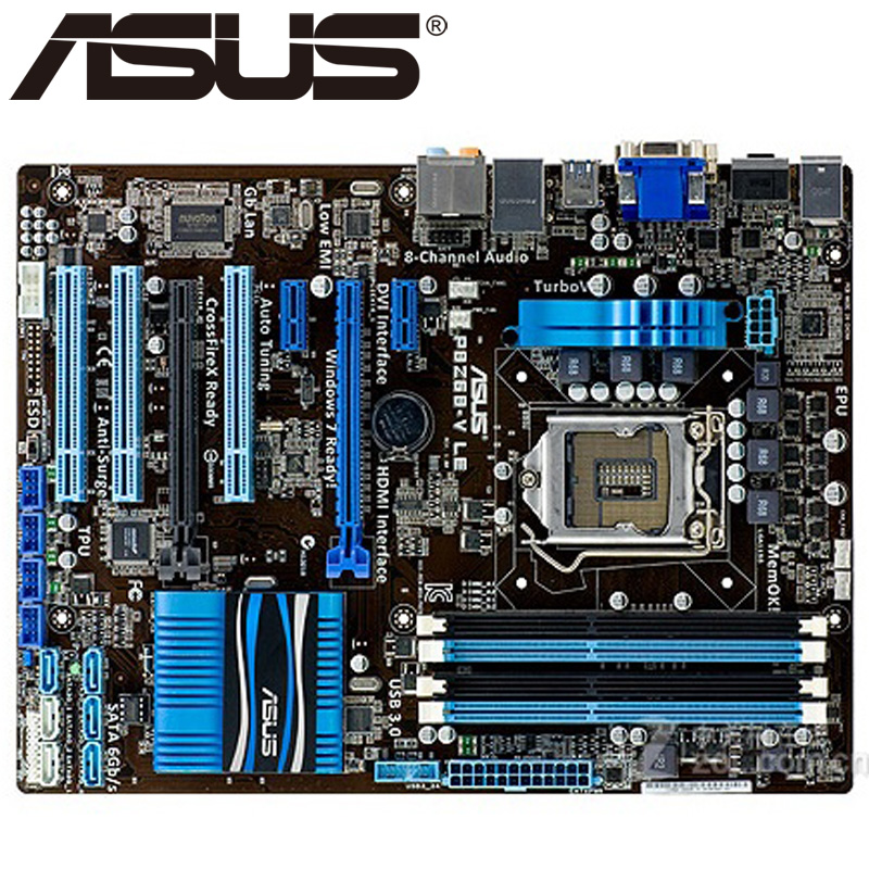 Asus P8Z68-V LE Desktop Motherboard Z68 Socket LGA 1155 i3 i5 i7 DDR3 32G ATX UEFI BIOS Original Used Mainboard On Sale asus p5ql cm desktop motherboard g43 socket lga 775 q8200 q8300 ddr2 8g u atx uefi bios original used mainboard on sale