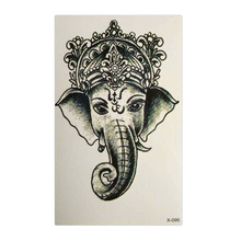 For Girl Women Waterproof Temporary Tattoo Sticker Elephant Tattoo 1PCS Ganesha Water Transfer Fake Tattoo Flash Tattoos