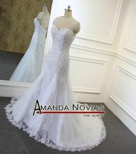 Image 2 - Wonderful crystal low back Mermaid full  lace designer irish lace wedding dresses