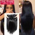 Клип В Человеческих Волос 120 г Реми Девы Зажим Для Волос в Расширение 1B Черной Женщины Целую Голову Человеческие Волосы Клип В прямо