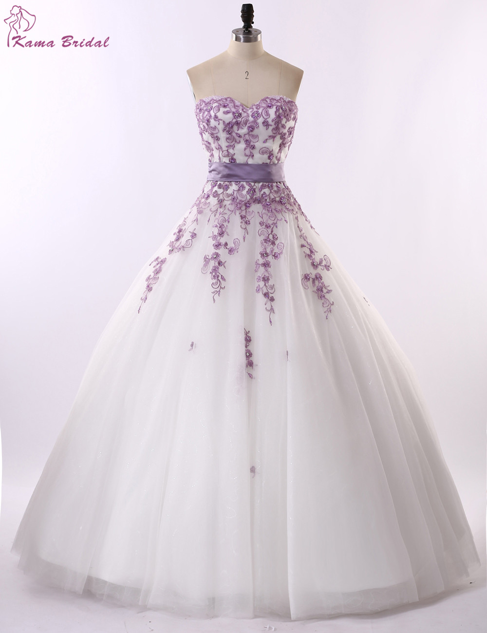 Exquisite Embroidery Lilac Wedding Dress 2016 Sweetheart Ball Gown Bridal Dresses Lace Up With Bow Vestido De Noiva In From