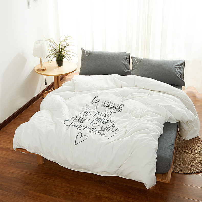 Fashion 100%Cotton Bedding Sets Bedsheet Mattress Cover 2Types 1.2m Kids Nordic Solid Love White Gray Unisex Free Shipping 1pcs
