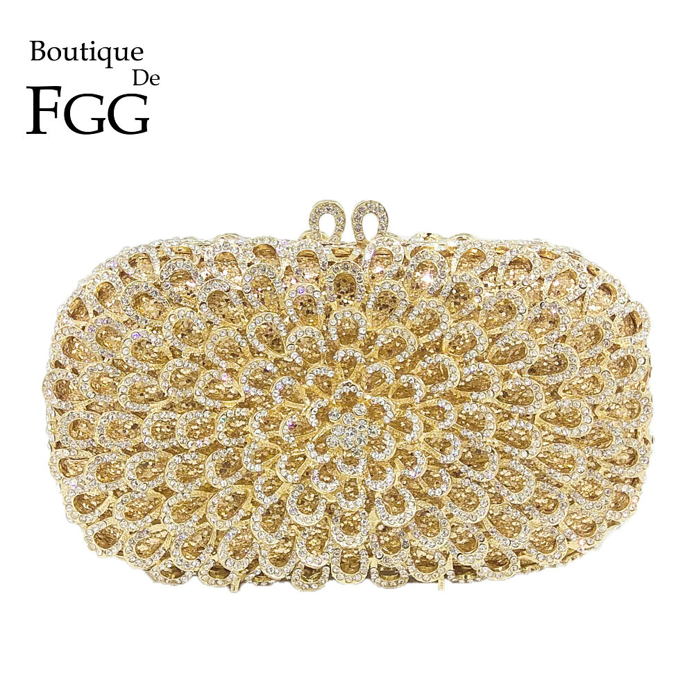 Boutique De FGG Dazzling Hollow Out Women Crystal Evening Minaudiere Bag Wedding Party Flower Handbag Purse Bridal Metal Clutch gold plating floral flower hollow out dazzling crystal women bag luxury brand clutches diamonds wedding evening clutch purse