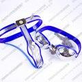 Blue Stainless steel (nipple sucker Bra+chastity belt female) nipple clamps bdsm fetish bondage set adult sex toys for women