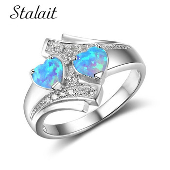 Romantic Moonstone Blue Heart Fire Opal Ring Jewelry For Women Silver Color Zircon Wedding Engagement Rings Bague Argent Femme