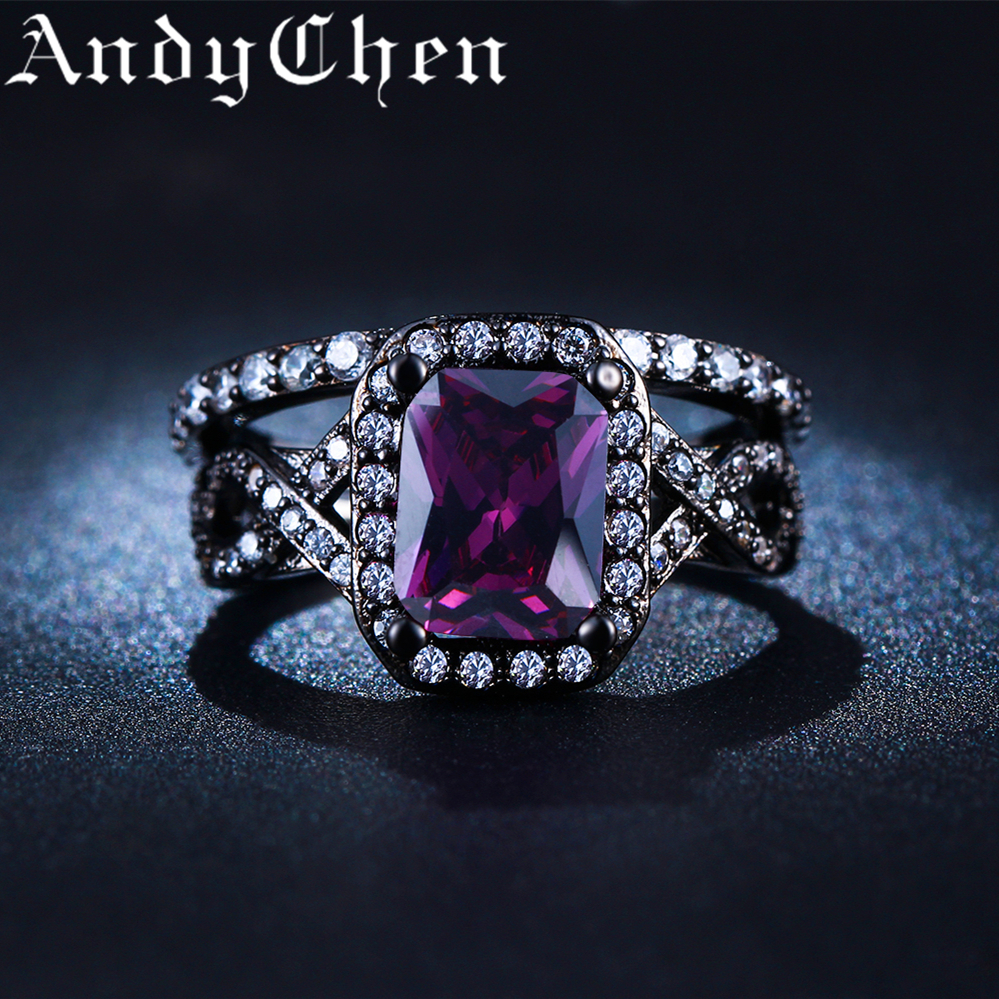 AndyChen Female Black Gold Color Purple Square Crystal