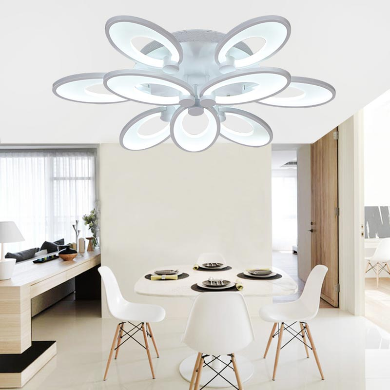 Modern White Led Lamps Ceiling Light Dimming With Remote Control Living Room Bedroom Kitchen Home Decor Lighting Fixtures 220V black and white round lamp modern led light remote control dimmer ceiling lighting home fixtures