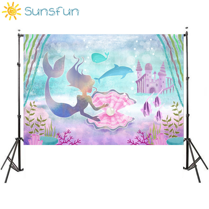 Sunsfun 7x5FT Little Mermaid Corals Rocks Chair Custom Photo Studio Backdrop Background Vinyl 220cm x 150cm sensfun where the wild things are dessert table backdrops custom photo studio backdrop background vinyl 7x5ft