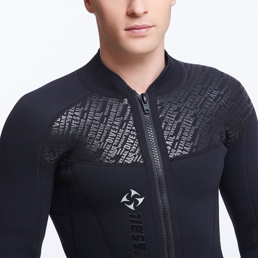 3mm/2mm/1mm Neoprene Jacket Wetsuit Top Black Front Zipper for Men with Hood Short Pants Long Pants 1mm