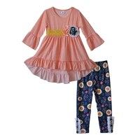 סתיו פעוט בנות תלבושות בוטיק מקסים פאי חרדל חמוד פולקה דוט שמלת וינטג 'הדפסת תינוק מכנסיים סטים לילדים בגדים F163