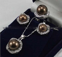 free shippinbg 06726 Chocolate South sea Shell Pearl Beads