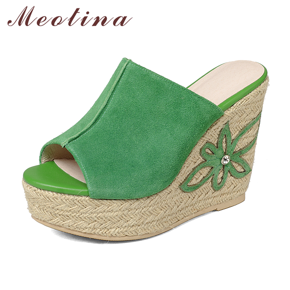 Meotina Genuine Leather Shoes Women Sandals Platform Sandals Platform Wedge Sandals Peep Toe High Heels Flower Shoes Green White free shipping 100%real picture women shoes wedges high heels platform luxury ethnic diamond genuine leather peep toe sandals