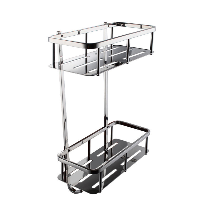 Bathroom Corner 2 Tier Rectangular Tub And Shower Caddy Basket Polished Stainless Steel In
