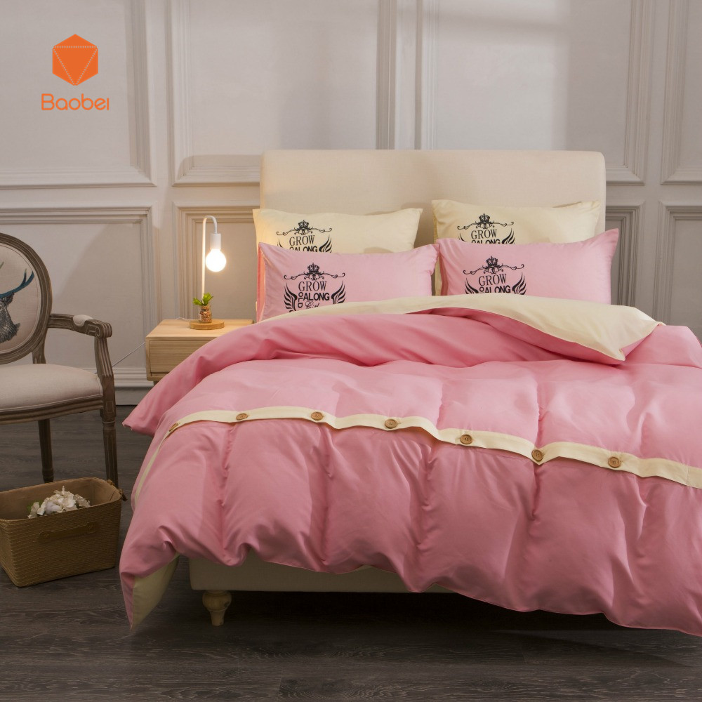 Solid Bedding Set With Buttons Pillowcase 48x74cm Flatsheet Printed Polyester Duvet Cover Set Twin Queen King SizeSj88