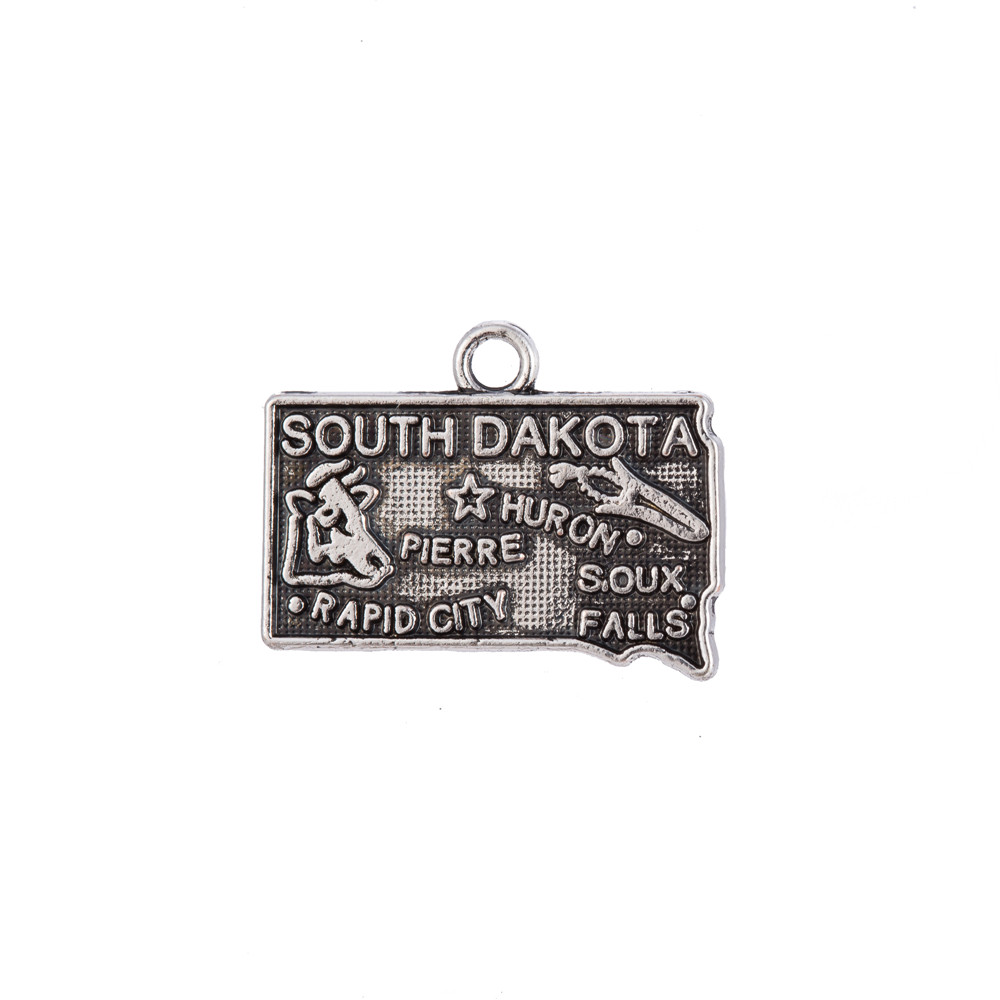 my shape 20*14mm South Dakota State Map Charm Pendant Antique Metal Handmade Jewelry Making 60Pcs