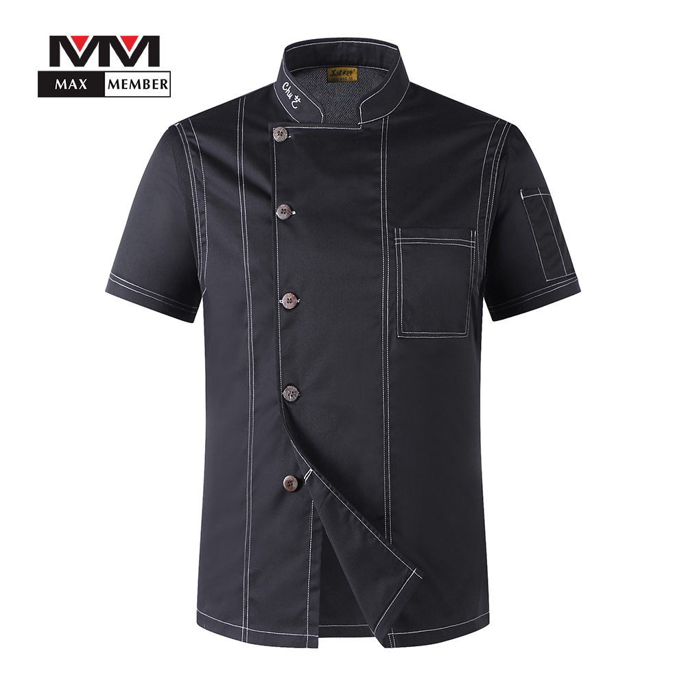 M-3XL Men Solid Single Breasted High Quality Kitchen Cook Uniform Short-sleeved Hotel Restaurant Bakery Waiter T-shirt Top