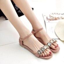 Rhinestone de las mujeres zapatos de verano sandalias de playa flip flop sandalia de cuero de gamuza mujer Europea marca plataforma sandalias zapatos de las señoras