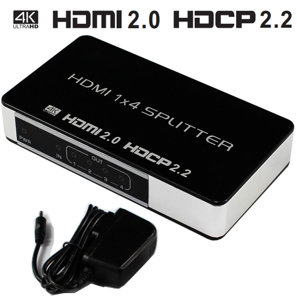 HDMI Splitter 1x4 4K @ 60Hz UHD HDCP 2.2 Split Répéteur Switch Box Entrée 4 Sortie Hdmi 2.0 Pour HDTV PS3 DVD STB