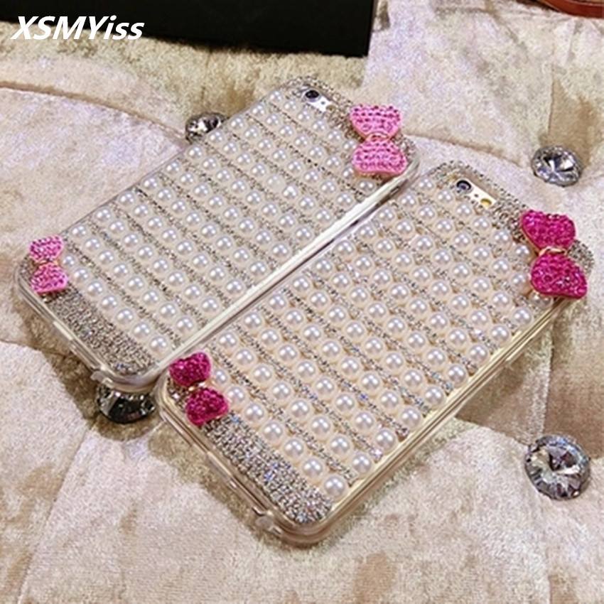 6 Crystal Pearl Photo Picture Frame Diamond Bowknot: XSMYiss Luxury Fashion Diamond Pearl Bow Knot Claw Chain