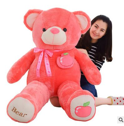 creative toy fruit bear plush toy huge 160cm hot pink apple teddy bear doll soft hugging