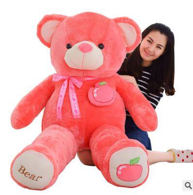Creative Toy Fruit Bear Plush Toy Huge 160cm Hot Pink Apple Teddy Bear Doll,soft Hugging Pillow Birthday Gift, Xmas Gift D2292