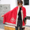 2017 Women Winter Warm Scarves Shawls Stoles Scarf Collar Lic Bandana Magic Viscose Blanket Scarf red pink Poncho for New Year
