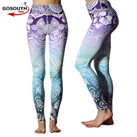 Women High Waist Jogging Yoga Pants High Waist Floral Printed Sports Leggings Purple Blue Ombre